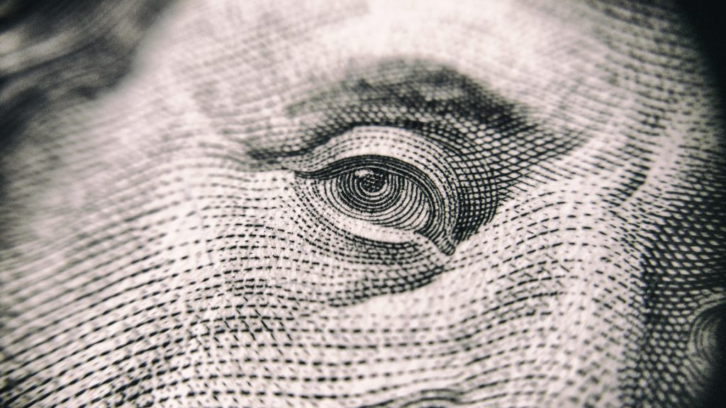 Ben Franklin Eye Hundred Dollar Bill